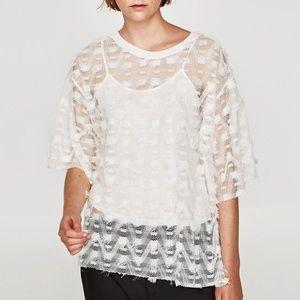 Mesh T-Shirt with Fringe